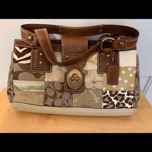 COACH Legacy Khaki Patchwork Shoulder Bag  #10816